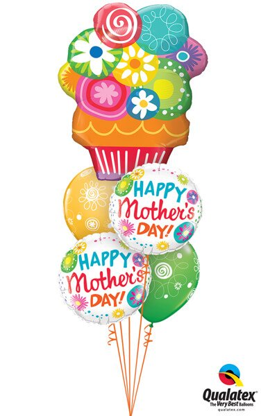Bukiet 593 Flower Basket for Mom Qualatex #47565 47392-2 48109-2