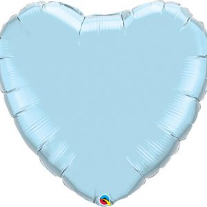 36″ / 91cm Solid Colour Heart Pearl Light Blue Qualatex #74625
