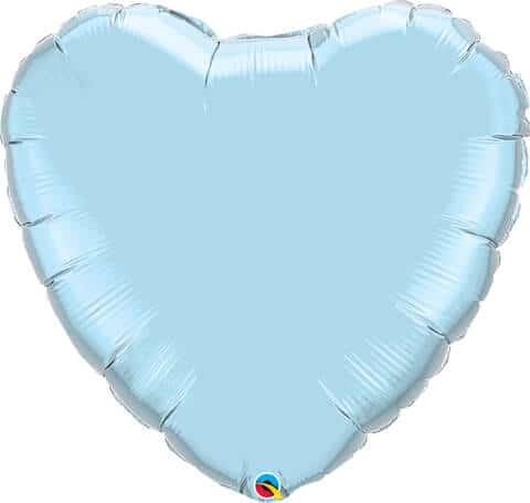 36″ / 91cm Solid Colour Heart Pearl Light Blue Qualatex #74625