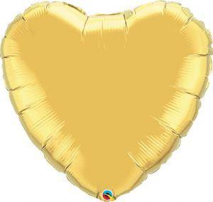 36″ / 91cm Solid Colour Heart Metallic Gold Qualatex #78451