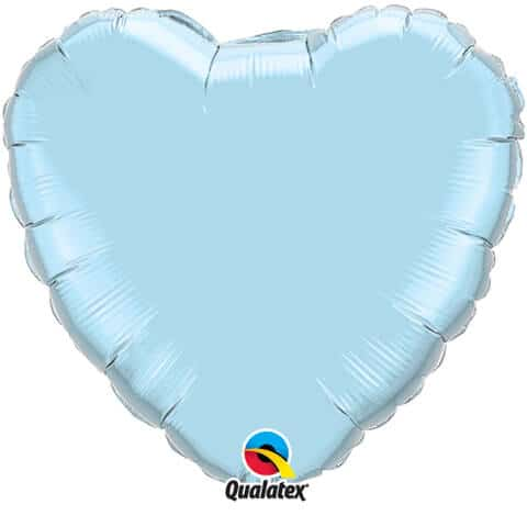 18″ / 46cm Solid Colour Heart Pearl Light Blue Qualatex #99346
