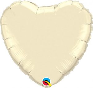18″ / 46cm Solid Colour Heart Pearl Ivory Qualatex #99347