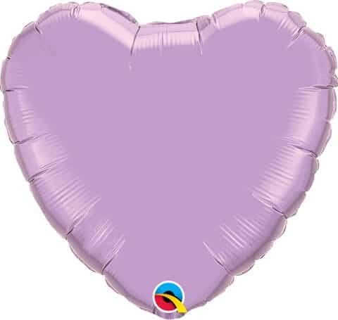 18″ / 46cm Solid Colour Heart Pearl Lavender Qualatex #99348
