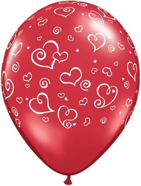 "11"" / 28cm Swirl Hearts Ruby Red Qualatex #11510-1"