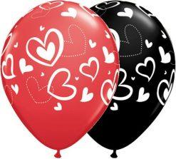 "11"" / 28cm Mix & Match Hearts Red & Black Qualatex #11123-1"