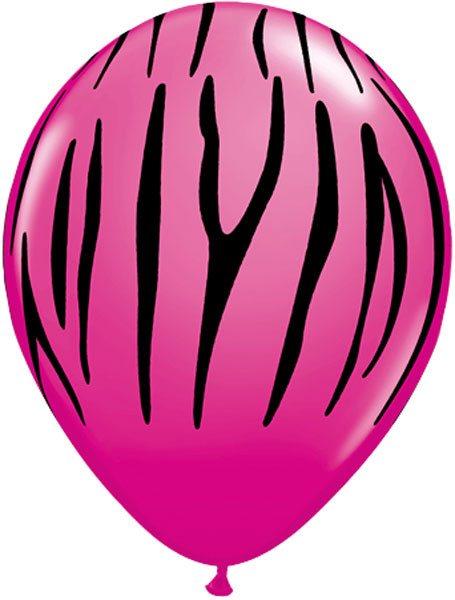 """11"""" / 28cm Zebra Stripes Wild Berry Qualatex #12584-1"""