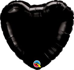 18″ / 46cm Solid Colour Heart Onyx Black Qualatex #12888