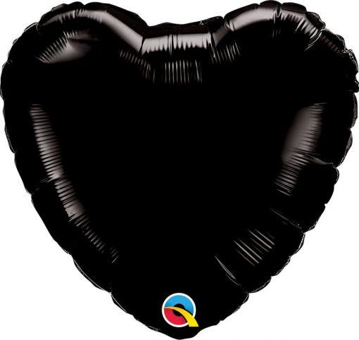18″ / 46cm Solid Colour Heart Onyx Black Qualatex #12888