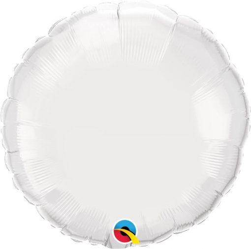 18″ / 46cm Solid Colour Round White Qualatex #12921