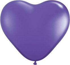 "6"" / 15cm Solid Colour Heart Latex Purple Violet Qualatex #13791-1"