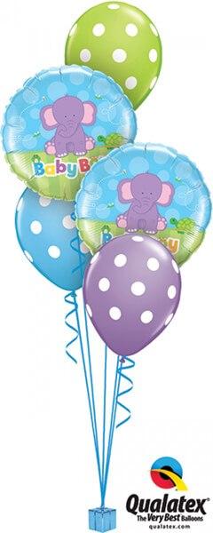 Bukiet 378 Baby Boy Elephant Qualatex #13916-2 14248-3