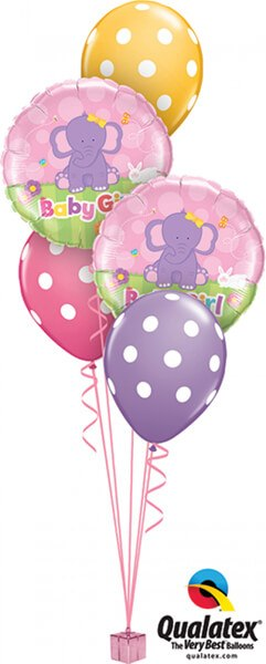 Bukiet 379 Baby Girl Elephant Qualatex #13929-2 14248-3
