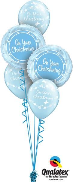 Bukiet 555 Baby Boy Christening Blue Qualatex #14433-2 46227-3