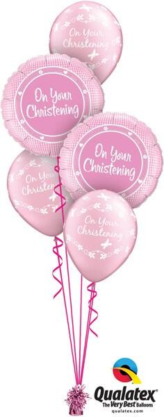 Bukiet 554 Baby Girl Christening Pink Qualatex #14439-2 46210-3