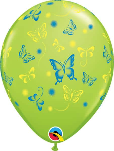 "11"" / 28cm Butterflies Asst Pale Blue, Lime Green, Yellow & Pink Qualatex #14518-1"