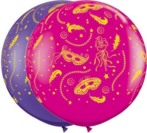 "3"" / 91cm Mardi Gras Party-A-Round Purple Violet & Wild Berry Qualatex #15311-1"