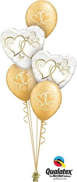 Bukiet 562 Golden Hearts Entwined Qualatex #15668-2 18639-3