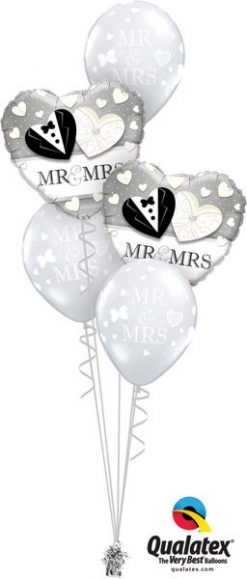 Bukiet 560 Bride & Groom Hearts Qualatex #15771-2 18654-3