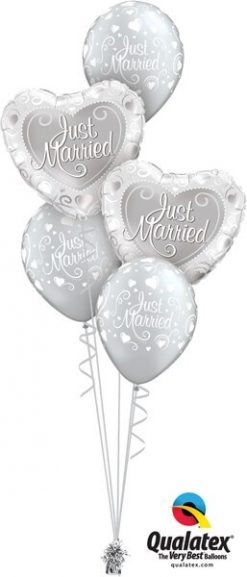 Bukiet 558 Just Married Hearts Qualatex #15816-2 19136-3