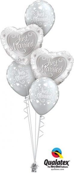 Bukiet 558 Just Married Hearts Qualatex #15816-2 19136-3