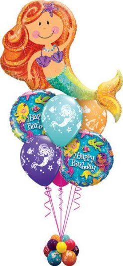 Bukiet 535 Happy Birthday Mermaid Qualatex #16116 18415-2 18460-4
