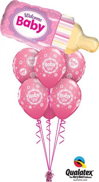 Bukiet 414 Welcome Baby Bottle Pink Qualatex #16470 17799-6