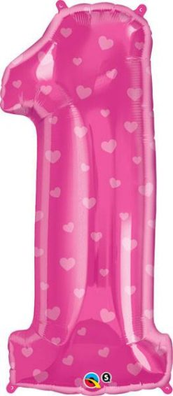 "34"" / 86cm Number One Pink Hearts Qualatex #16480"