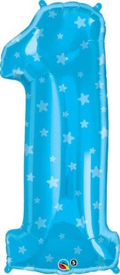 "34"" / 86cm Number One Blue Stars Qualatex #16482"