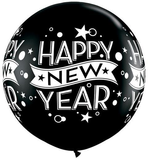 "3"" / 91cm New Year Confetti Dots Onyx Black Qualatex #19175-1"