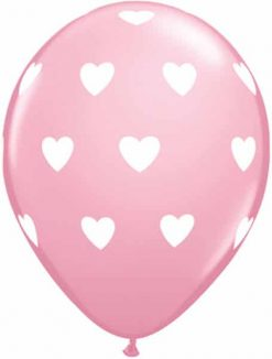 "11"" / 28cm 6szt Big Hearts Pink Qualatex #18078"