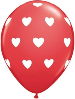 "11"" / 28cm 6szt Big Hearts Red Qualatex #18079"