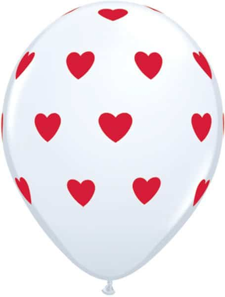 "11"" / 28cm 6szt Big Hearts White Qualatex #18080"