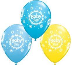 "11"" / 28cm Baby Boy Dots Qualatex #18506-1"