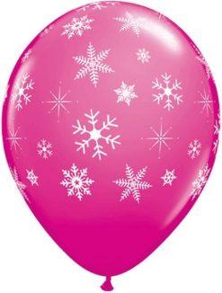 "11"" / 28cm Snowflakes & Sparkles A Round Qualatex #18644-1"