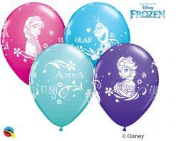 "11"" / 28cm Anna, Elsa, & Olaf Asst of Wild Berry, Purple Violet, Caribbean Blue, Robin's Egg Blue Qualatex #18675-1"