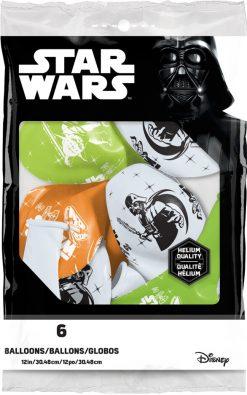 "12"" / 30cm 6szt Darth Vader & Yoda™ Asst of White, Lime Green, Onyx Black, Orange Qualatex #19363"