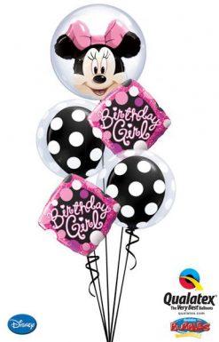 Bukiet 10 Double Bubble Disney Minnie Mouse Qualatex #27568 16872-2 29592-2 43737-2