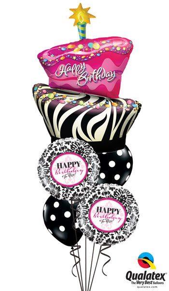 Bukiet 12 Birthday Funky Zebra Stripe Cake Qualatex #16081 30986-2 14218-2