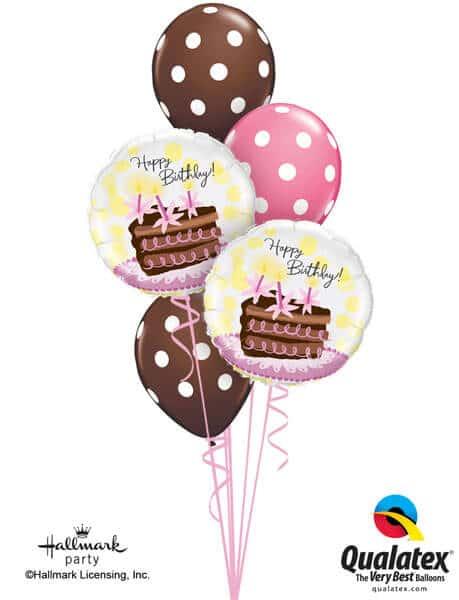 Bukiet 183 Birthday Chocolate Cake Slice Qualatex #29648-2 84651-3