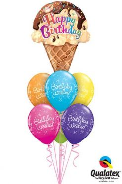 Bukiet 182 Birthday Ice Cream Cone Qualatex #16400 43075-6