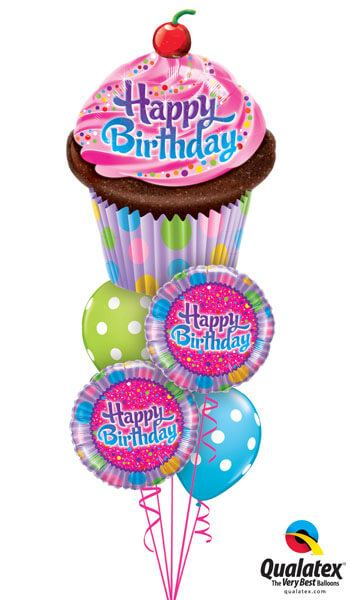 Bukiet 242 Birthday Frosted Cupcake Qualatex #16083 30677-2 14248-2