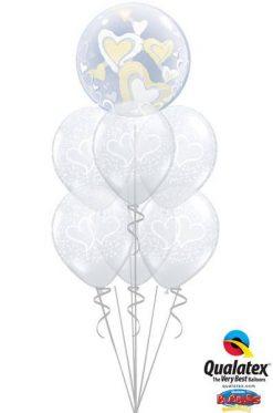 Bukiet 41 Double Bubble White & Ivory Floating Hearts Qualatex #29489 37200-6