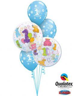 Bukiet 313 Age 1 Teddy Bears Qualatex #36368-2 41186-3