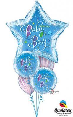 Bukiet 227 Welcome Baby Boy Stars Qualatex #16614 35312-2 39923-2