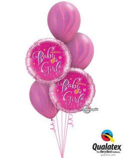 Bukiet 164 Welcome Baby Girl Stars Qualatex #35316-2 91543-2