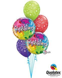 Bukiet 316 Congratulations Star Patterns Qualatex #35412-2 46110-3