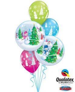 Bukiet 472 Festive Trees & Snowmen Qualatex #31851-2 40075-3
