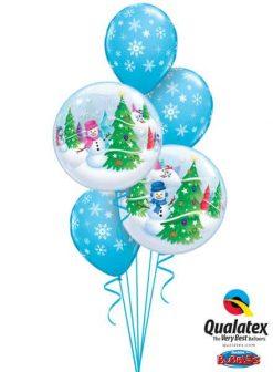 Bukiet 473 Festive Trees & Snowmen Qualatex #31851-2 33531-3