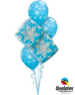 Bukiet 461 Snowflakes Sparkles Blue Qualatex #40089-2 33531-3