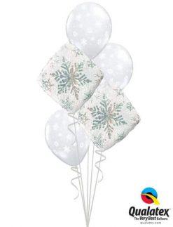 Bukiet 462 Snowflakes Sparkles White Qualatex #40091-2 40800-3
